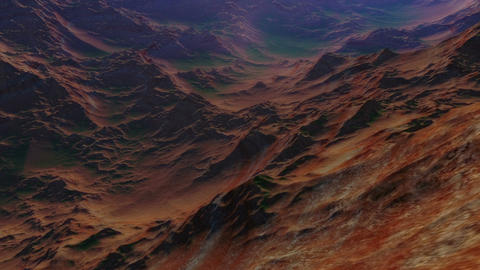 Day to night fly-through animation of a rocky deserted exoplanet with early sign Animation