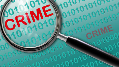Close up of magnifying glass on crime, Stock Animation