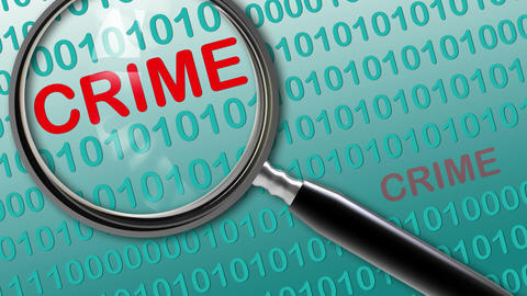 Close up of magnifying glass on crime Videos animados