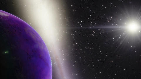 Timelapse space animation of a purple rocky planet with rings and a galaxy in th Animation