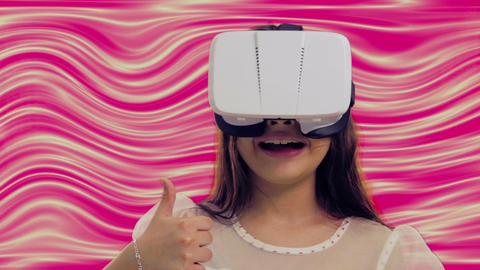 Young girl with 3D headset with colorful background Live影片