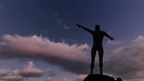 Silhouette of man on the rocks . Freedom concept made in3d software lumion Animation