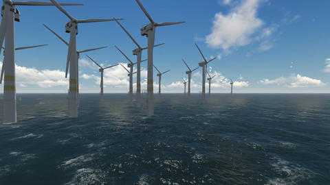 wind turbines working at sea and generating clean energy Animation
