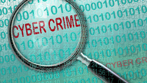 Close up of magnifying glass on cyber crime Animation