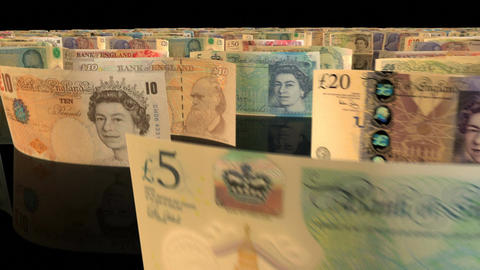 A fly-through animation over a large set of British Pound banknotes Animation