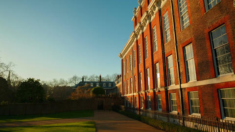 Closeup panoramic view of the Kensington Palace in London, England, UK Footage