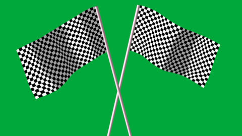 checkered black and white F1 flags, Stock Animation