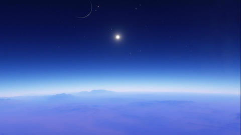 Rocky exoplanet timelapse animation with a main star and nearby planets visible Animation