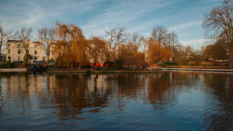 An establishing shot of the winter canal landscape in London, England, UK on a s Footage