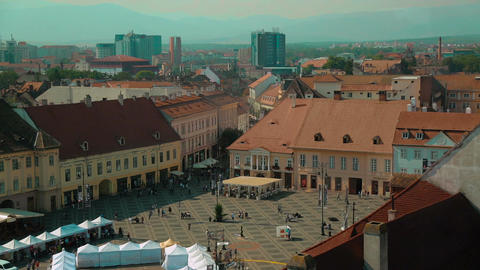 Elevated view of the Main Square - Piata Mare - in Sibiu, Romania Live Action