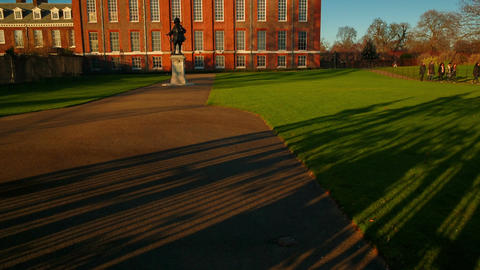 Tilting shot showing the entrance of the Kensington Gardens in London, England,  Footage