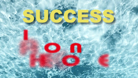 words success is just around the corner on blue water background Animation