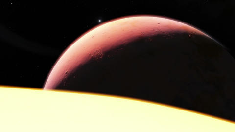 Telephoto timelapse animation featuring 2 exoplanets, a main star and a galaxy i Animation
