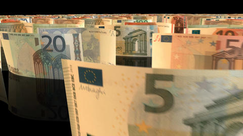 A fly-through animation over a large set of Euro banknotes Animation