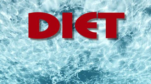 words Diet You can do it on blue water background Animation
