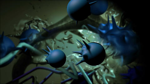 virus attack the cell in 3d max Animation