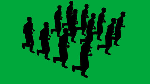 Silhouettes of people running - separated on green screen Animation