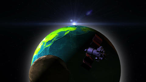 Telecommunication Satellite with solar panels flying over the earth Animation