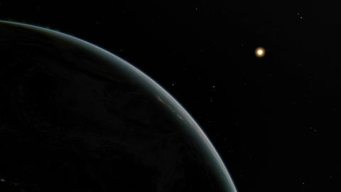 Space animation featuring planet Earth revolving on its axis multiple times with Animation