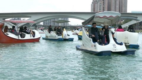 People enjoying Pedalboats on lake in Bitan New Taipei City 11 Footage
