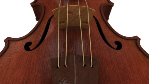 CG animation of a violin isolated against a white background Stock Video Footage