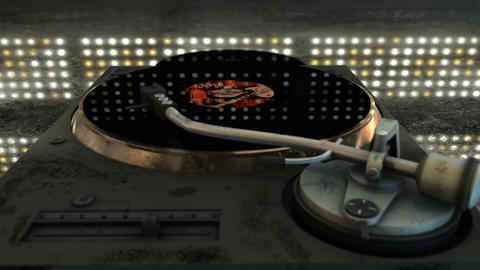 Nostalgic CG animation featuring a grungy turntable with a spinning vinyl record Animation