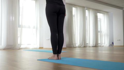 Group of woman doing yoga class indoor Stock Video Footage
