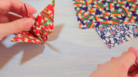 fold paper Origami crane Footage