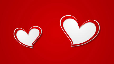 Two red beautiful hearts abstract video animation Stock Video Footage