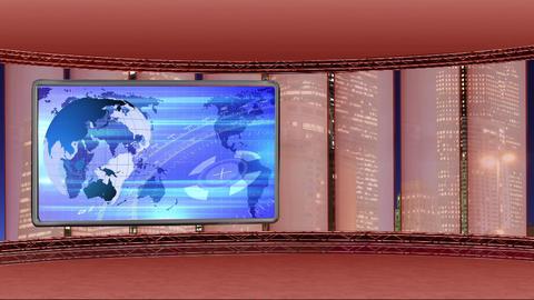News TV Studio Set 250- Virtual Background Loop Footage