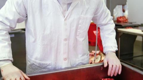 Butcher preparing minced meat Live Action