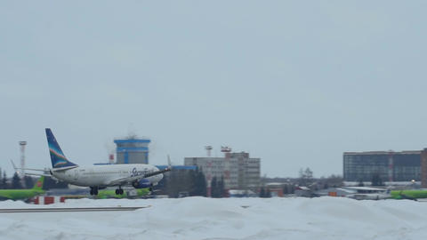 Boeing 737-86N VQ-BMP approaching in Tolmachevo Airport in Novosibirsk, Russian  Footage