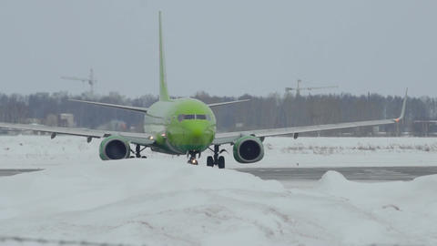 Boeing 737-800 of S7 Airlines taxis to runway before departure Footage