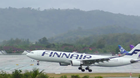Airbus A330 approaching at Phuket International Airport Footage
