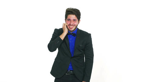 Business man laughing hard and pointing with a finger Footage