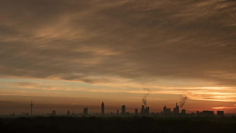Timelapse of sunrise and clouds over Frankfurt Footage
