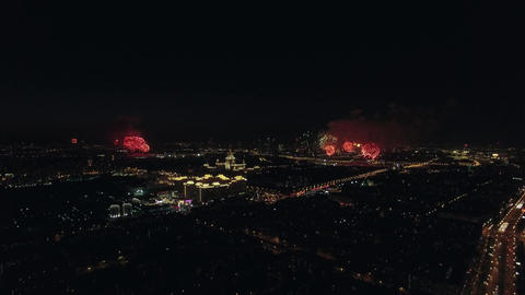 Celebration of Victory Day with fireworks in night Moscow Footage