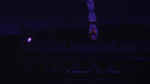 Performance of aerial acrobatics in the circus Footage