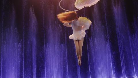 Aerial acrobat performing with neck loop Footage