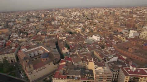 Aerial view of Valencia parks and city centre, Spain Footage