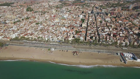 Aerial shot of Barcelona and coast, Spain Footage