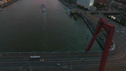 Rotterdam with view to river and bridges, aerial Footage