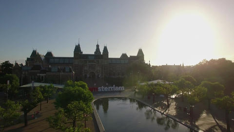 Aerial view of Amsterdam Rijksmuseum and Art Square Live Action