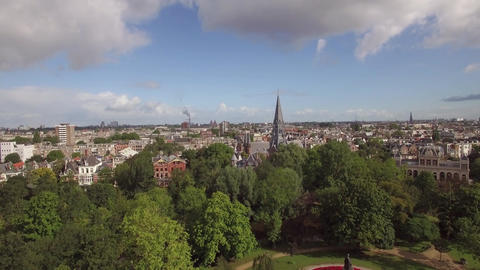 Vondelpark and Amsterdam cityscape, aerial view Live Action