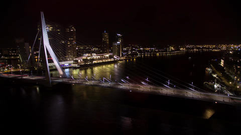 Timelapse of traffic on Erasmus Bridge at night, Rotterdam Footage