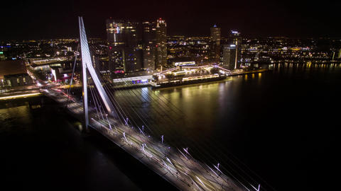 Timelapse of car traffic on Erasmus Bridge in night Rotterdam Footage