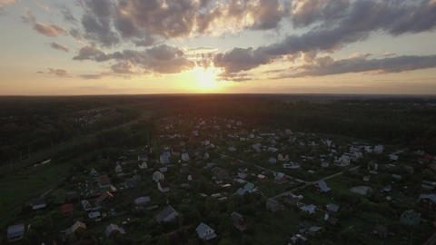 Skyline sunset and village in Russia, aerial view Footage