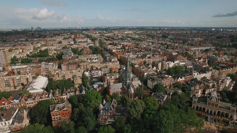 Cityscape of Amsterdam, aerial view ビデオ