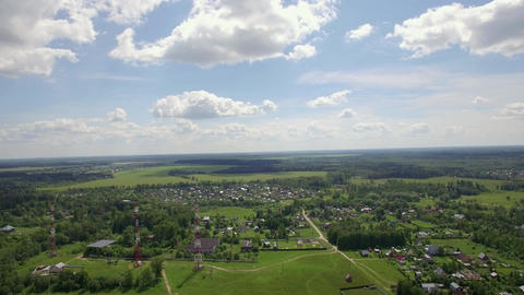 Aerial skyline landscape with village in Russia Footage