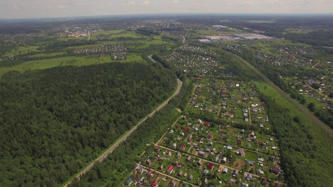 Aerial view of summer house community, Russia Live Action